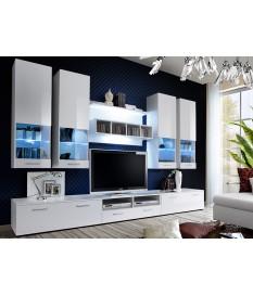 Meuble TV Blanc Laqué 3m + Elements Murals vitrés