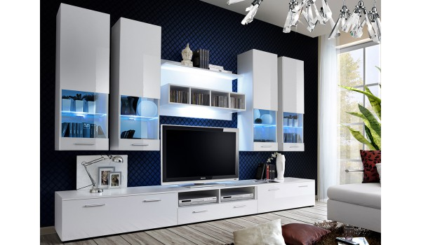 meuble salon tv blanc laqu 3m pour salon. Black Bedroom Furniture Sets. Home Design Ideas