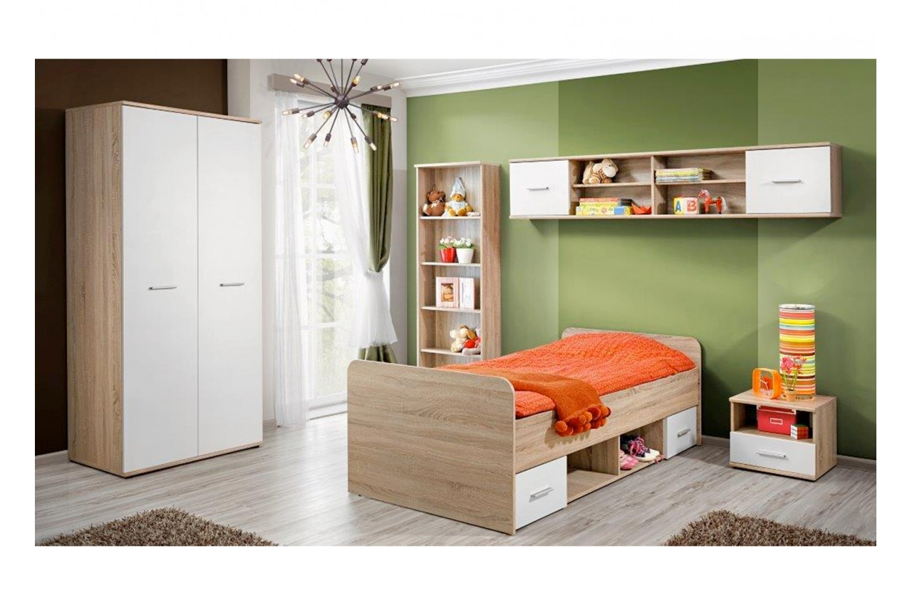 chambre coucher enfant bois blanc novomeuble. Black Bedroom Furniture Sets. Home Design Ideas