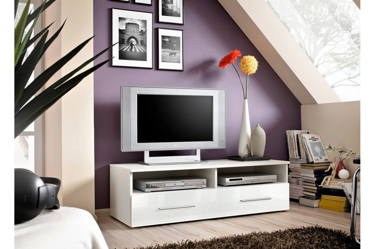 banc tv 120 cm blanc pour salon. Black Bedroom Furniture Sets. Home Design Ideas