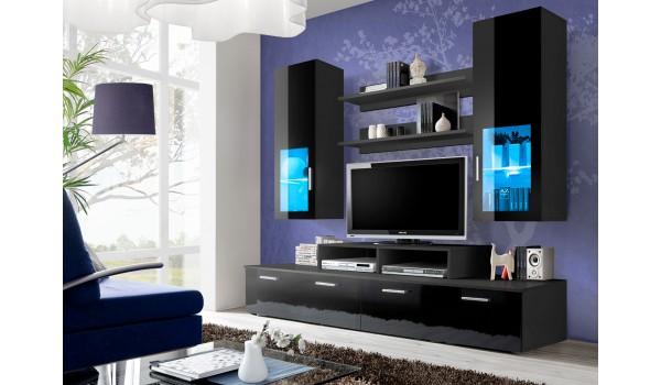 Meuble TV Design Noir Laqué