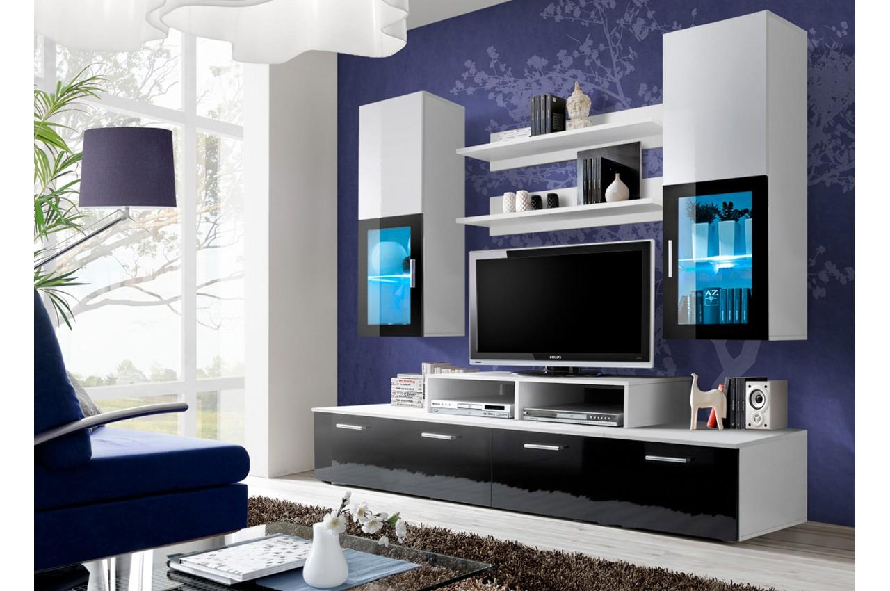 Ensemble Tv Mural Noir Blanc Novomeuble # Ensemble Tv Laque Noir