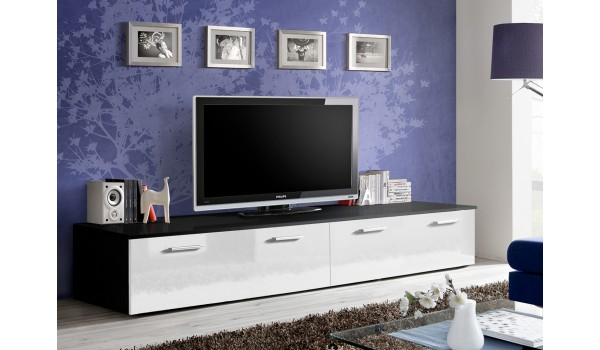Meuble TV Bas 2m Noir-Blanc