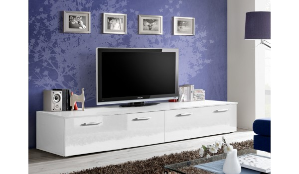 meuble tv bas 2m blanc pour meuble tv. Black Bedroom Furniture Sets. Home Design Ideas