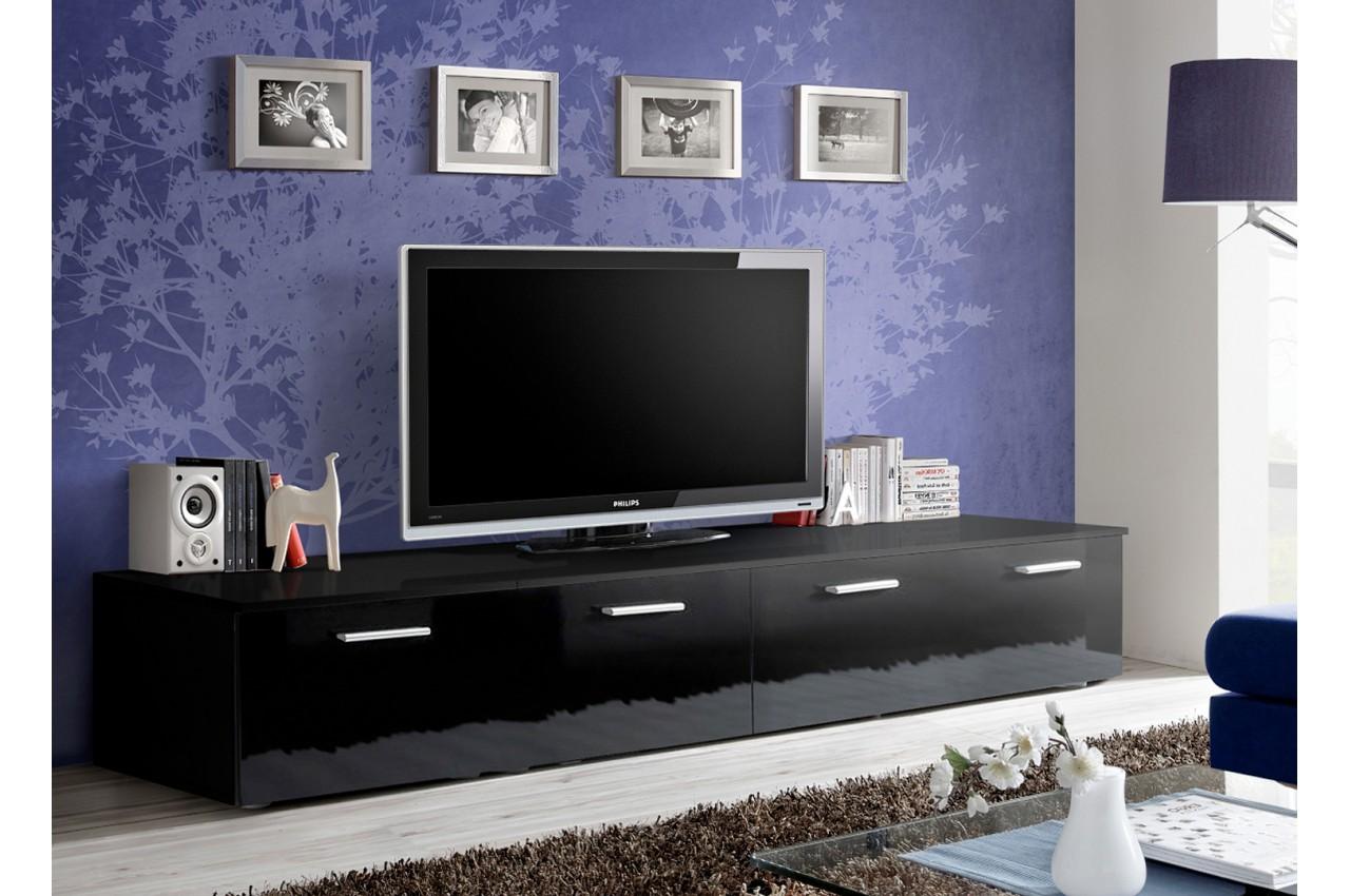 Meuble Tv Bas 2m Noir Novomeuble # Meuble Tv Bas Noir Laque