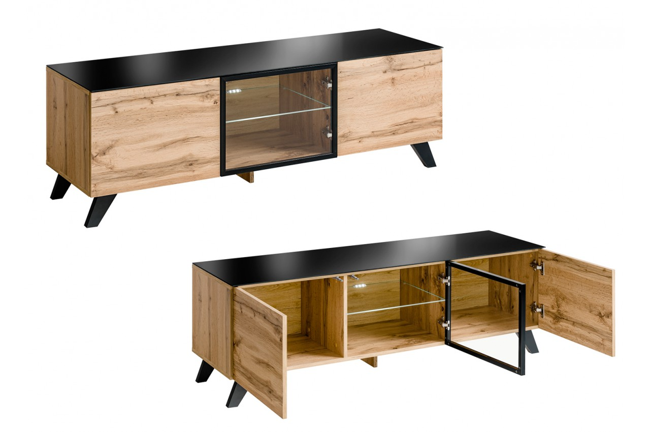meuble tv bas en bois scandinave novomeuble. Black Bedroom Furniture Sets. Home Design Ideas