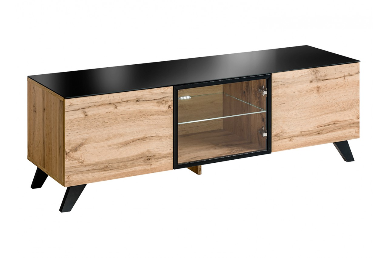 meuble tv bas en bois scandinave pour salon. Black Bedroom Furniture Sets. Home Design Ideas