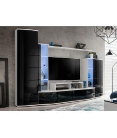 Ensemble de Meuble TV Design Blanc et Noir Laqué
