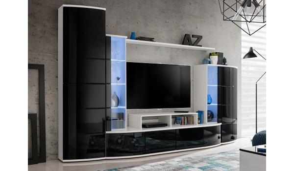 Ensemble De Meuble Tv Design Blanc Et Noir Laque Pour Salon