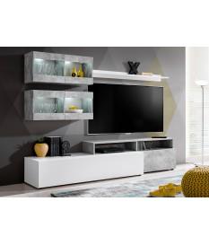 Meuble Télé Mural Design Blanc / Béton pas cher