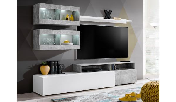 Meuble Télé Mural Design Blanc Béton Pas Cher