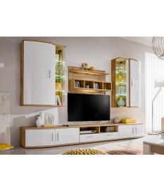 Meuble TV Design - Ensemble Moderne Blanc & Bois