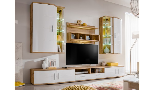 Meuble TV Design - Ensemble Moderne Blanc & Bois pour salon