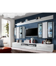 Meuble TV Blanc & Vitrine mural LED