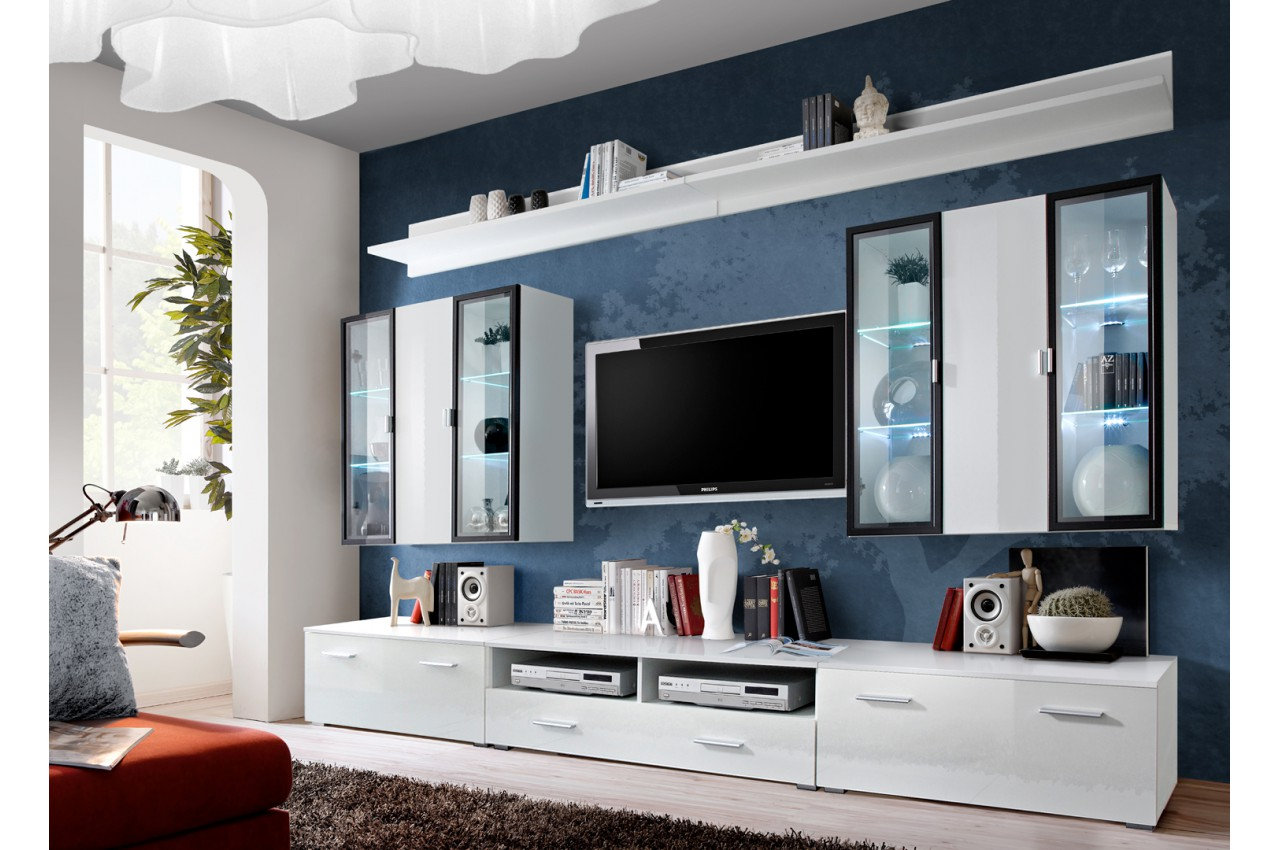 meuble tv blanc vitrine murale led pour salon. Black Bedroom Furniture Sets. Home Design Ideas