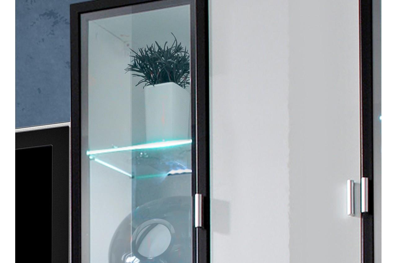 meuble tv noir vitrine murale blanche led novomeuble. Black Bedroom Furniture Sets. Home Design Ideas