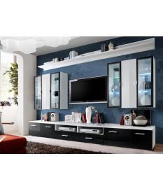 Meuble TV Noir & Vitrine Mural Blanche LED