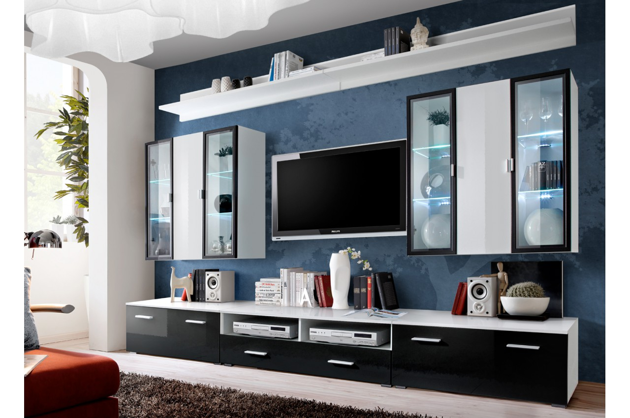 meuble tv noir vitrine murale blanche led novomeuble. Black Bedroom Furniture Sets. Home Design Ideas