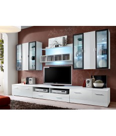Ensemble TV Mural Design Blanc & LED
