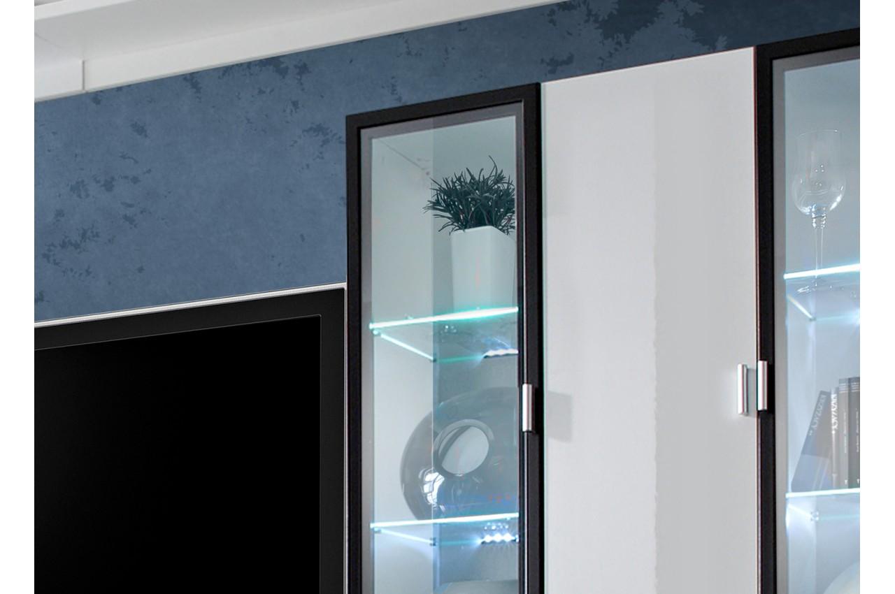 Table De Salon Laque Blanc : Ensemble tv mural design blanc led pour salon