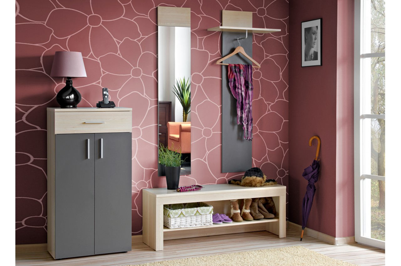meuble d 39 entr e rangement vestiaire miroir banc. Black Bedroom Furniture Sets. Home Design Ideas