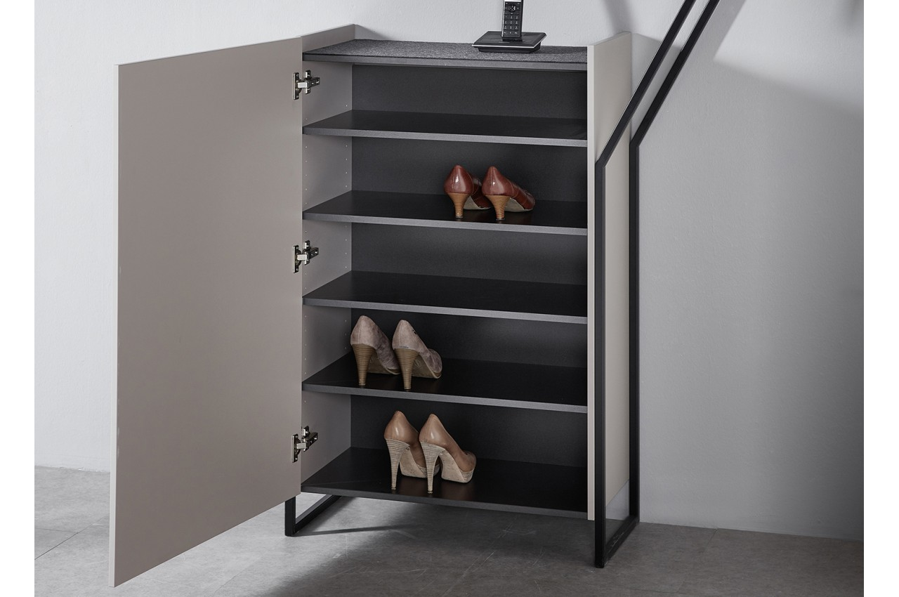 meuble chaussures d 39 entr e original coloris gris pierre novomeuble. Black Bedroom Furniture Sets. Home Design Ideas