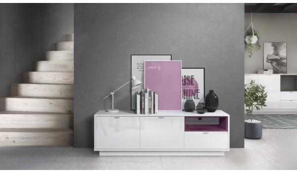 Meuble TV Design Blanc Brillant