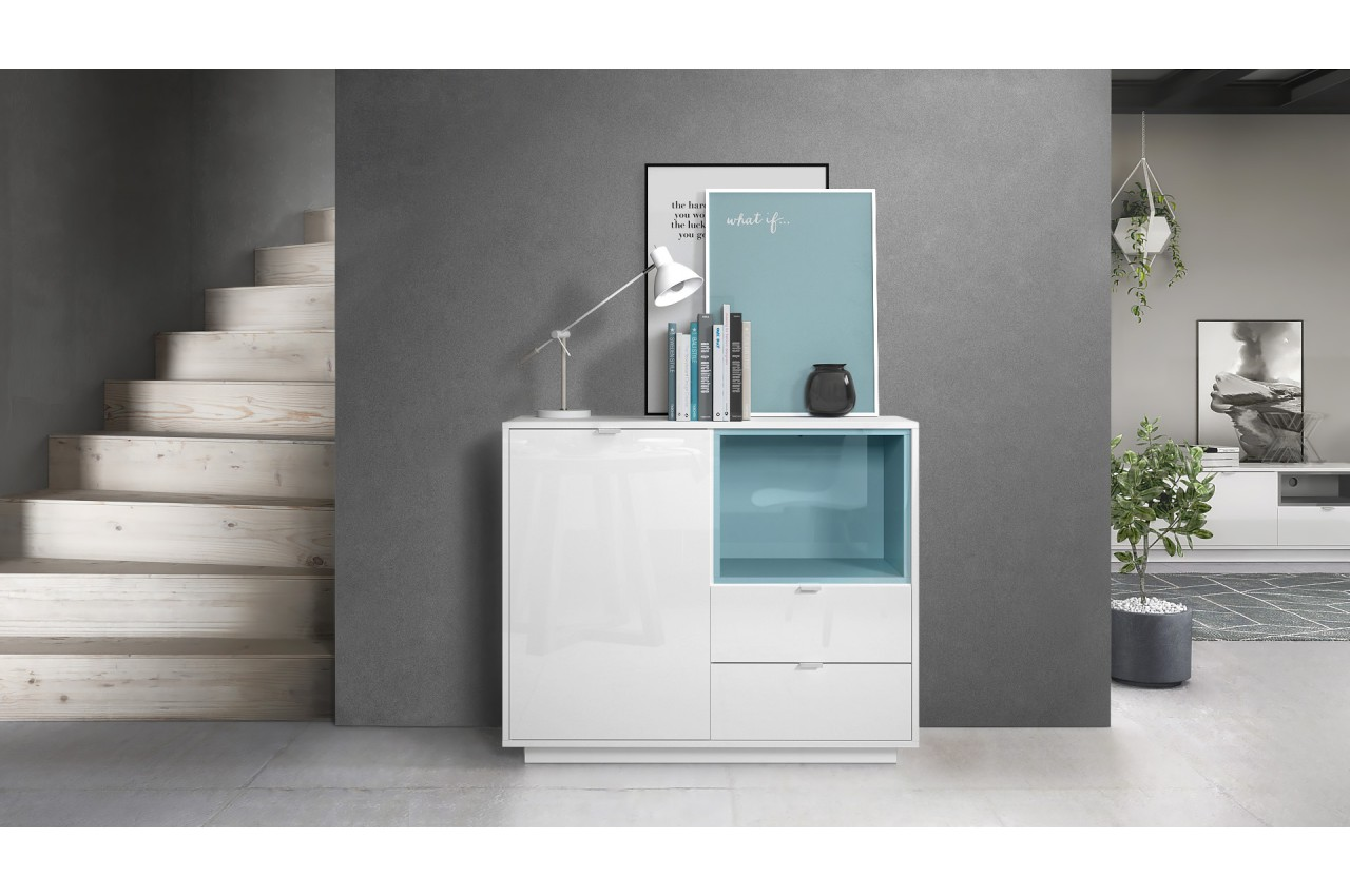 meuble commode design blanc brillant novomeuble. Black Bedroom Furniture Sets. Home Design Ideas