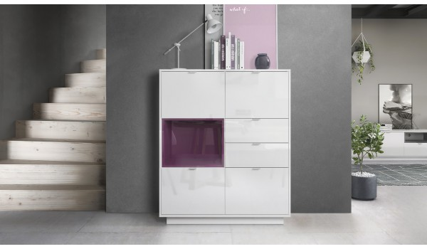 Buffet Haut Design Blanc Brillant
