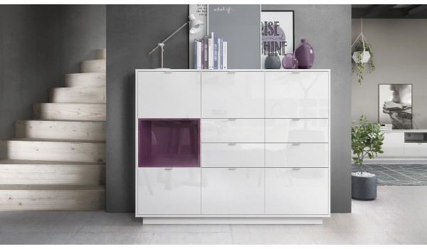 Meuble Buffet Haut Blanc Brillant 6 portes