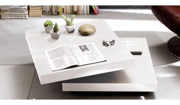 Table Basse Blanche Plateau Amovible