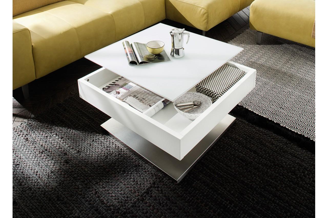 Table basse blanche pied en acier & plateau rotatif pour salon