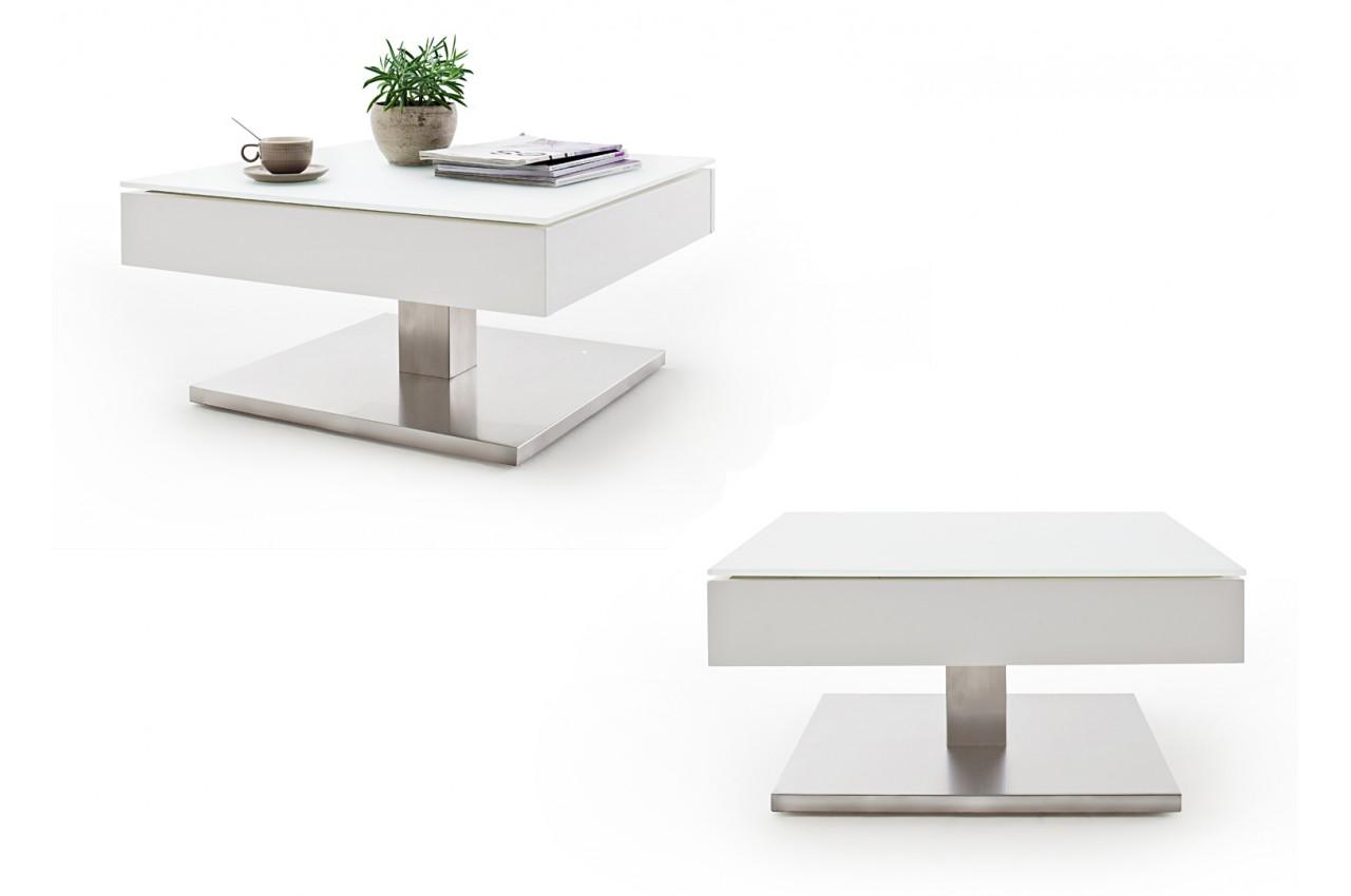 Table Basse Blanche Pied En Acier Plateau Rotatif Pour Salon