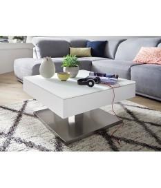 Table Basse Blanche Pied Acier Central & Plateau Rotatif