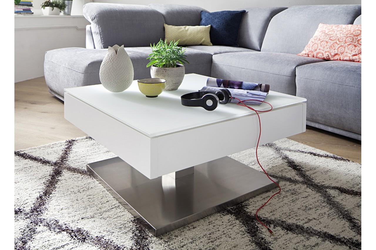 Table basse blanche pied en acier plateau rotatif pour salon - Pied pour table basse ...