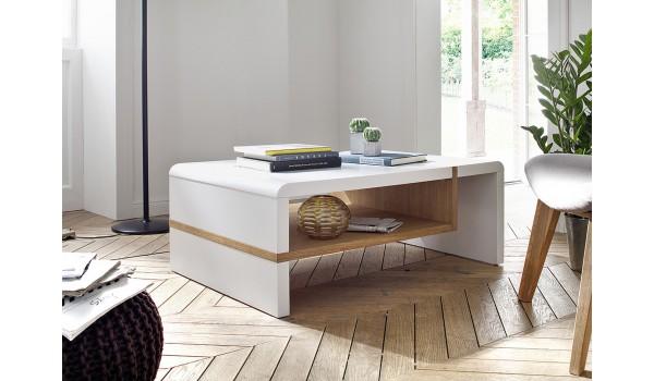 Table Basse Blanc Laqué & Chêne huilé