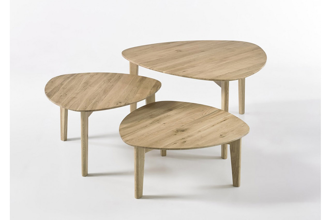 pour 3 Tables Chêne Massif salon Bois Gigognes mn8vN0Ow