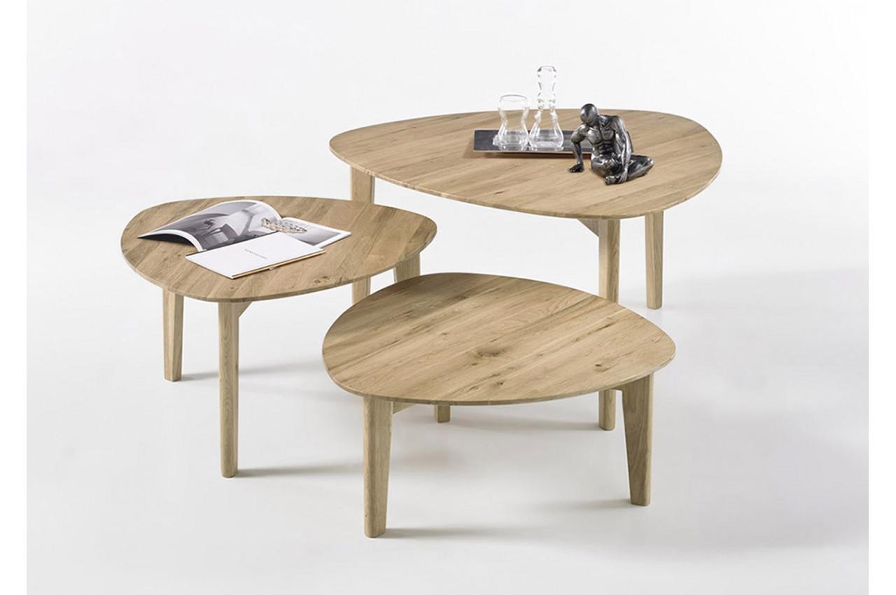 3 Tables Gigognes Bois Chêne Massif Pour Salon