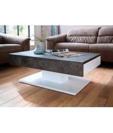 Table Basse Blanche & Gris Béton Design