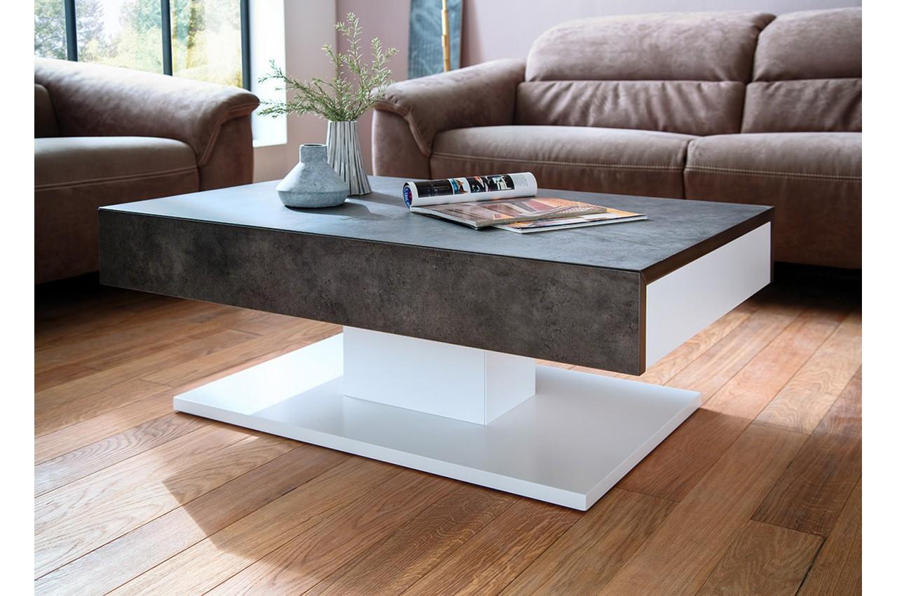 Table basse blanche gris b ton design pour salon - Salon gris beton ...