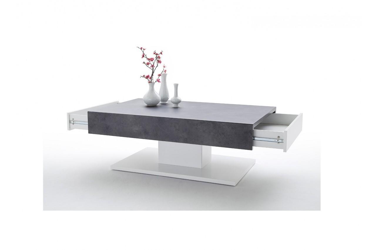 Table Basse Blanche Gris Beton Design Pour Salon