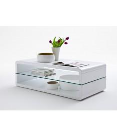 Table Basse Design Blanc Laqué et Verre