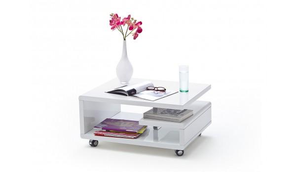 Table Basse Design Blanche avec roulettes