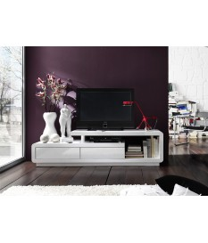 Meuble TV Laqué Design Blanc ou Blanc Gris