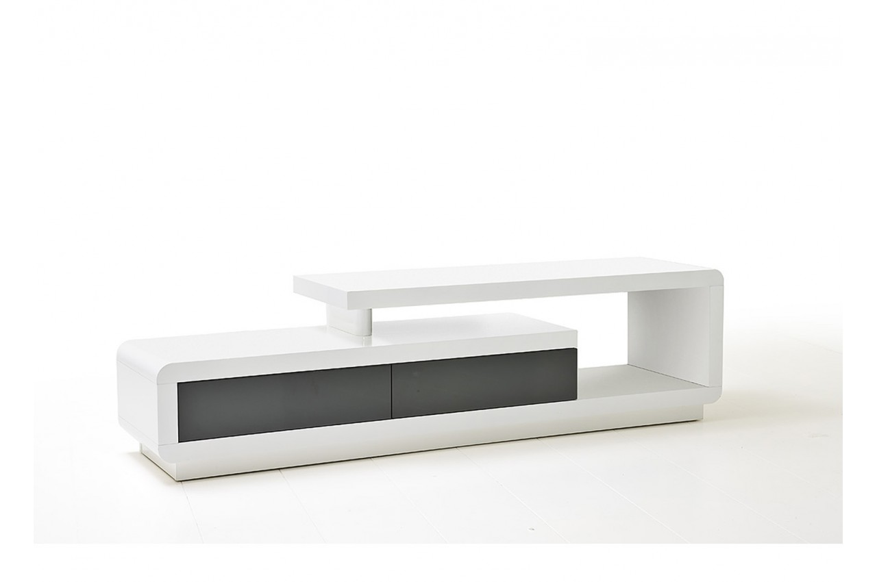 Meuble Tv Laqu Design Blanc Ou Blanc Gris Novomeuble # Meuble Tv Gris Et Blanc