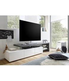 Meuble TV Laqué Design Blanc & Gris Béton