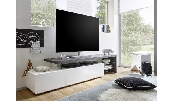 ff37be95296d8 Meuble TV Laqué Design Blanc   Gris Béton pour salon
