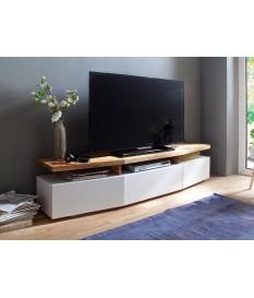 Meuble TV Blanc & Chêne Massif