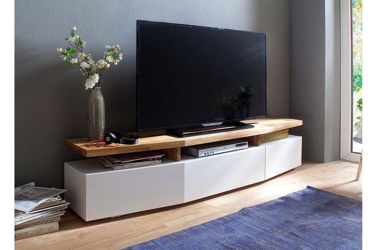 Meuble Tv Blanc Ch Ne Massif Novomeuble # Meuble Tv Blanc Et Chene Long