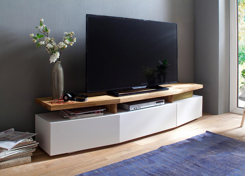 meuble tv blanc chene massif pour salon
